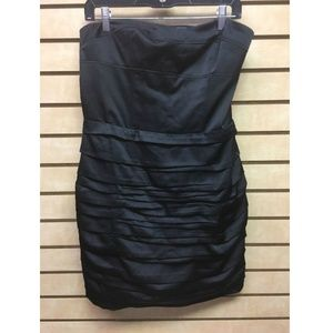 Express Dress Size 12 Tube Sleeveless Black Satin